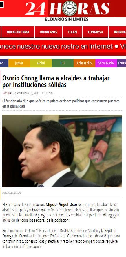 Osorio Chong llama a alcaldes a trabajar por instituciones sólidas