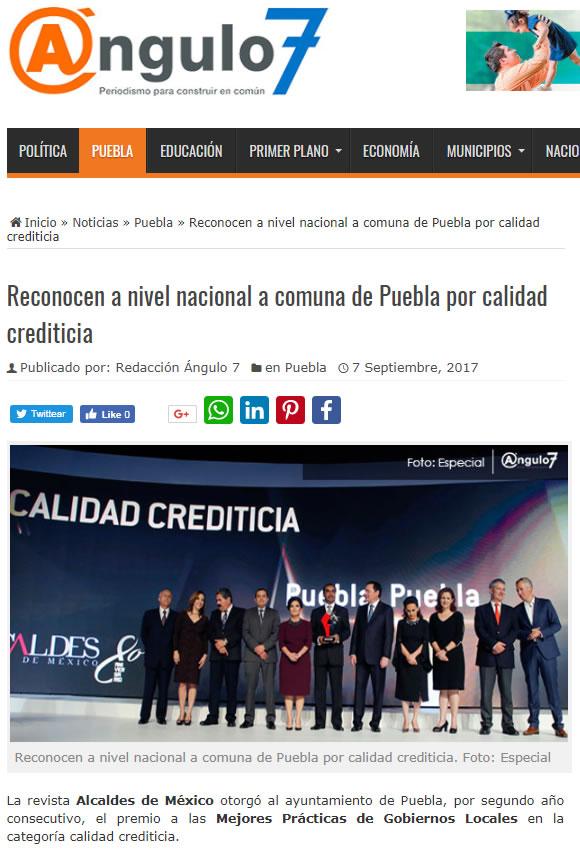 Reconocen a nivel nacional a comuna de Puebla por calidad crediticia