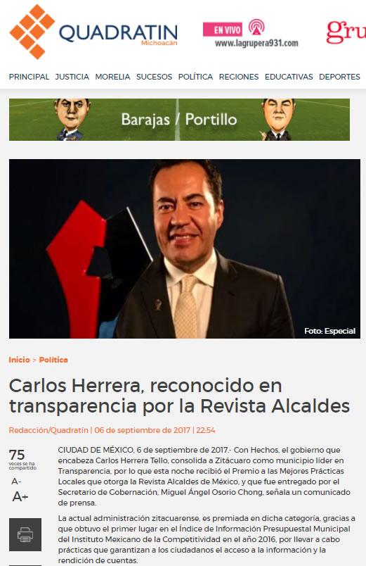 Carlos Herrera, reconocido en transparencia por la Revista Alcaldes