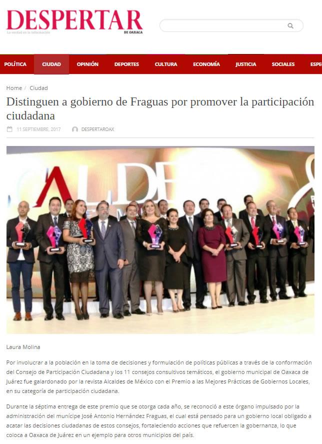 Distinguen a gobierno de Fraguas por promover la participación ciudadana
