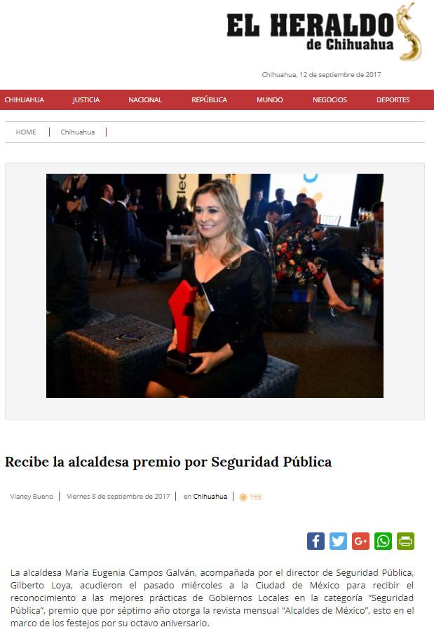 Recibe la alcaldesa premio por Seguridad Pública