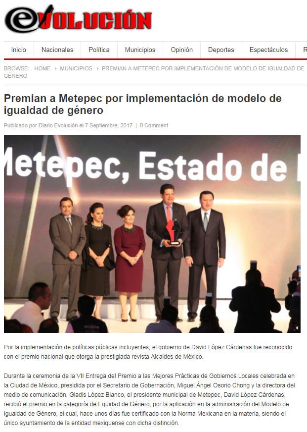 Premian a Metepec por implementación de modelo de igualdad de género