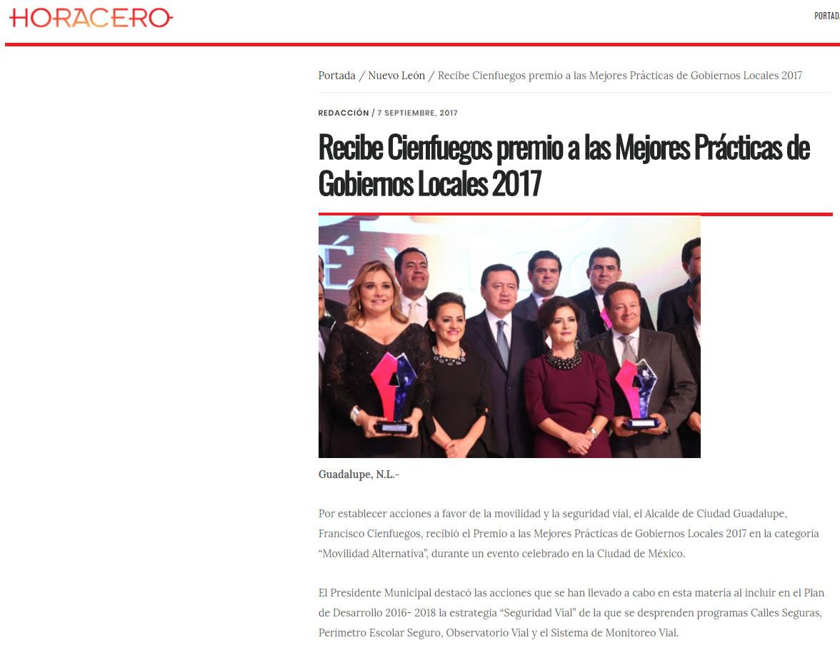 Recibe Cienfuegos premio a las Mejores Prácticas de Gobiernos Locales 2017