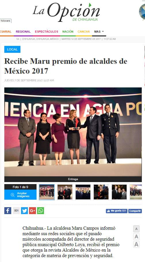 Recibe Maru premio de alcaldes de México 2017