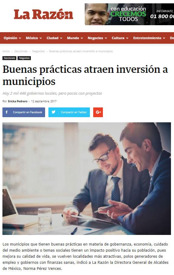 Buenas prácticas atraen inversión a municipios