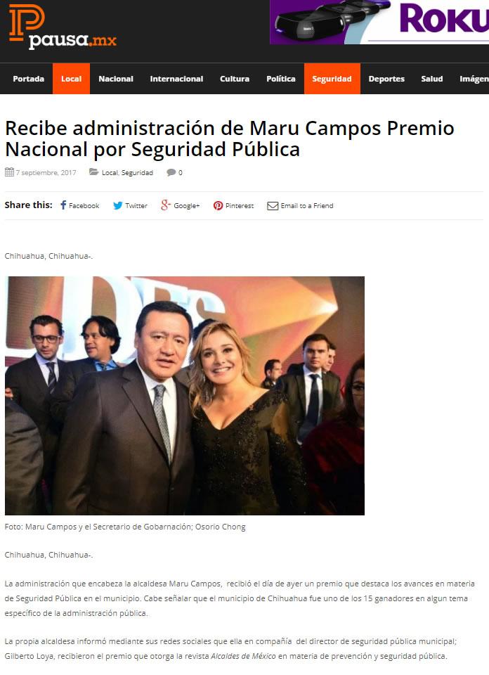 Recibe administración de Maru Campos Premio Nacional por Seguridad Pública
