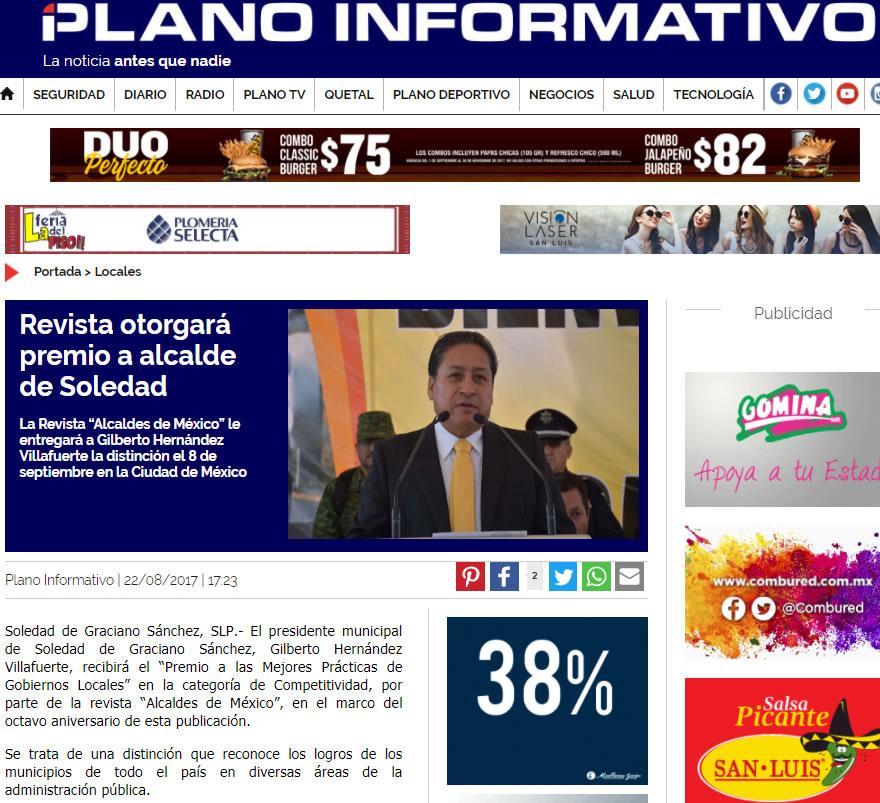 """La Revista """"Alcaldes de México"""" le entregará a Gilberto Hernández Villafuerte la distinción el 8 de septiembre en la Ciudad de México"""