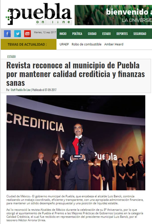 Revista reconoce al municipio de Puebla por mantener calidad crediticia y finanzas sanas