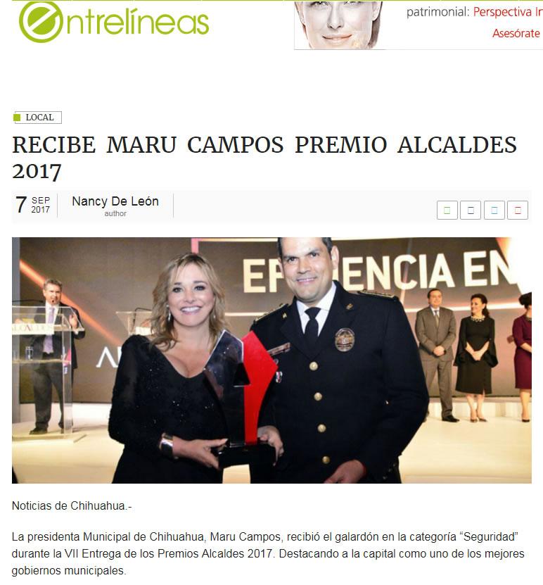 RECIBE MARU CAMPOS PREMIO ALCALDES 2017