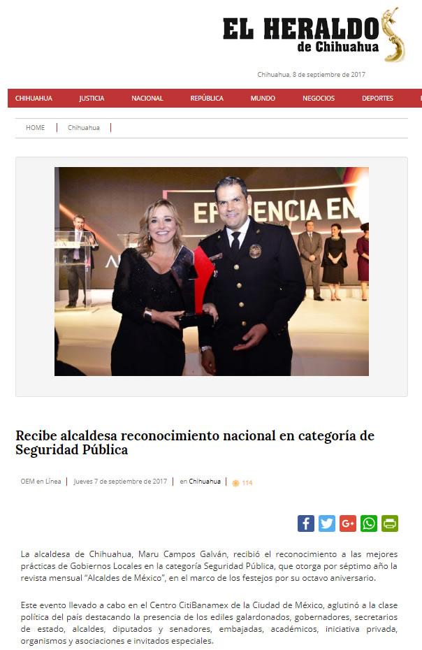 Recibe alcaldesa reconocimiento nacional en categoría de Seguridad Pública
