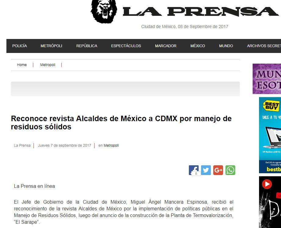 Reconoce revista Alcaldes de México a CDMX por manejo de residuos sólidos