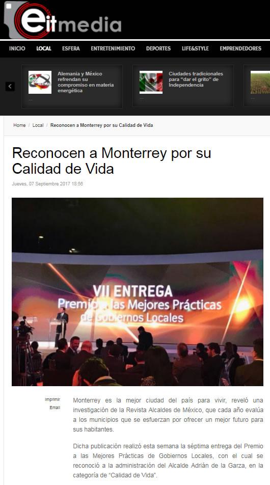 Reconocen a Monterrey por su Calidad de Vida