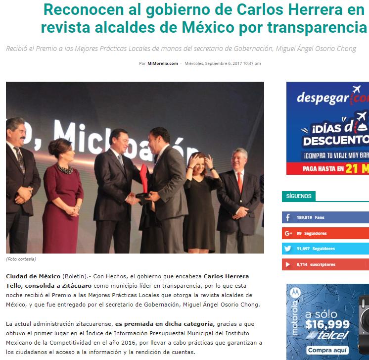 Reconocen al gobierno de Carlos Herrera en revista alcaldes de México por transparencia