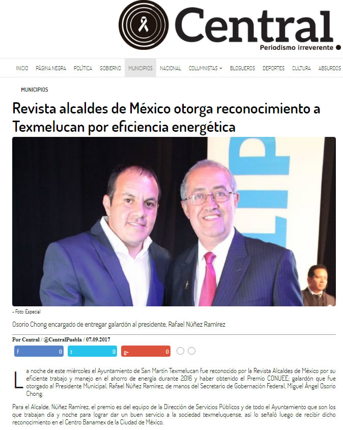 Revista alcaldes de México otorga reconocimiento a Texmelucan por eficiencia energética