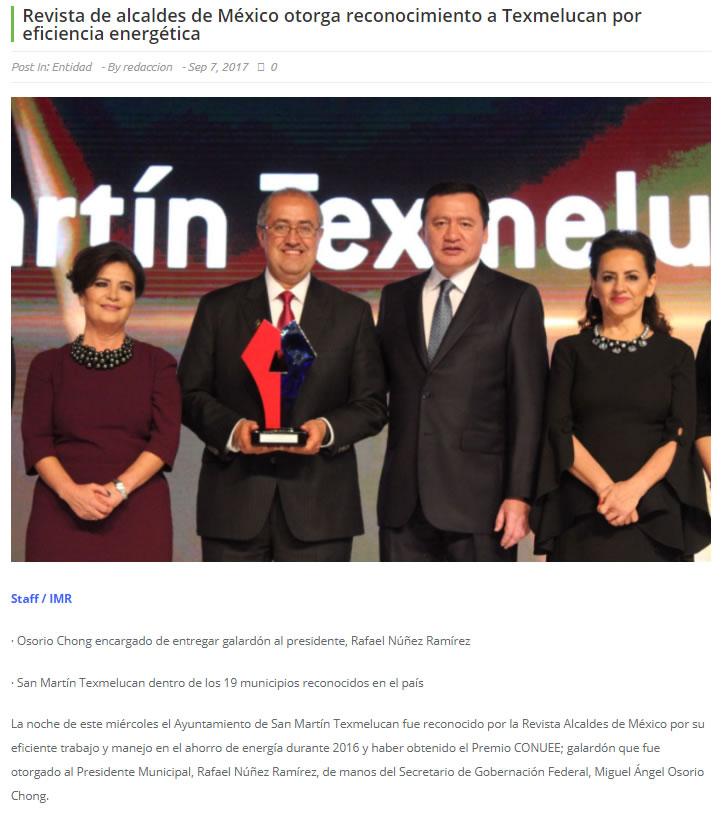 Revista de alcaldes de México otorga reconocimiento a Texmelucan por eficiencia energética