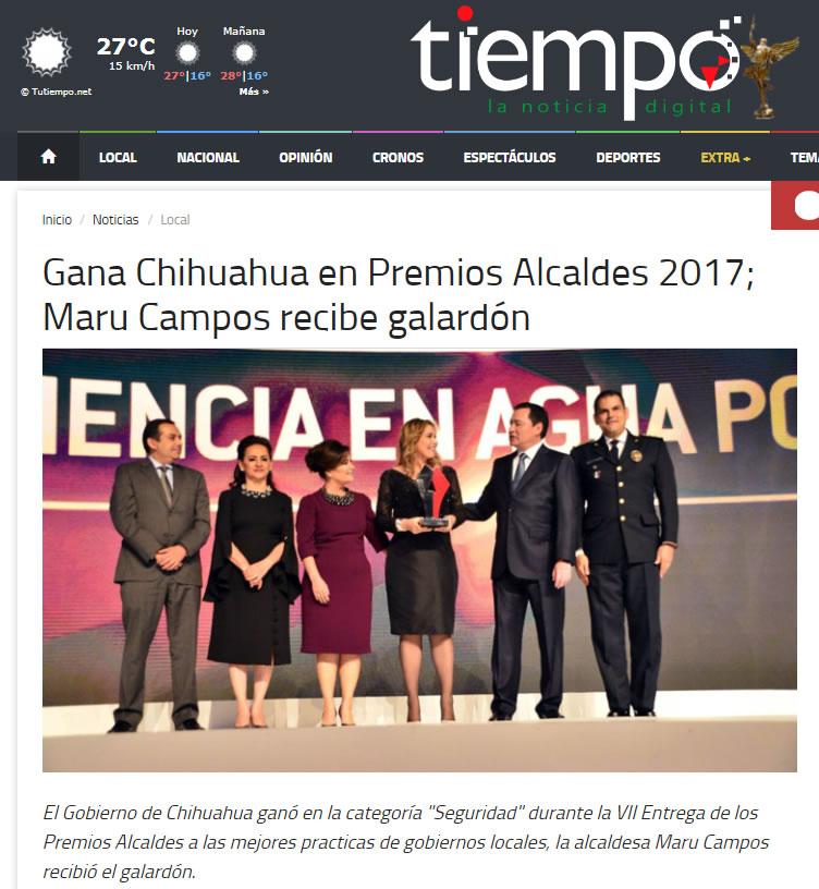 Gana Chihuahua en Premios Alcaldes 2017; Maru Campos recibe galardón