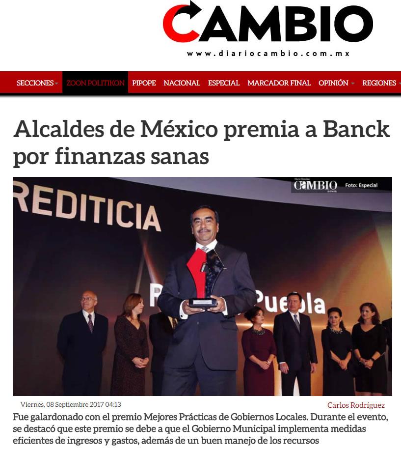 Alcaldes de México premia a Banck por finanzas