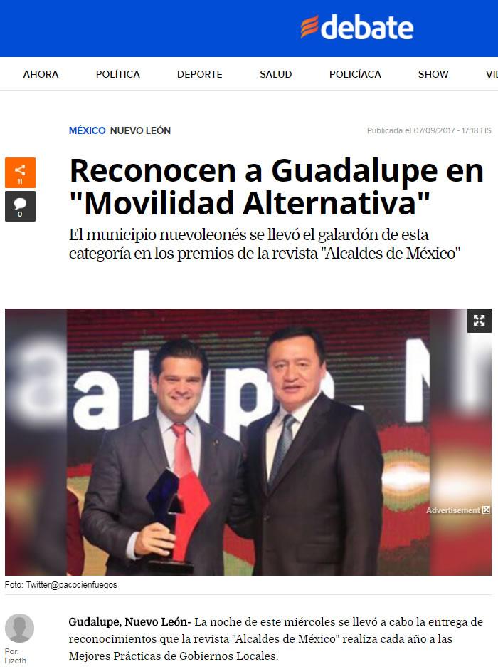 Reconocen a Guadalupe en «Movilidad Alternativa»