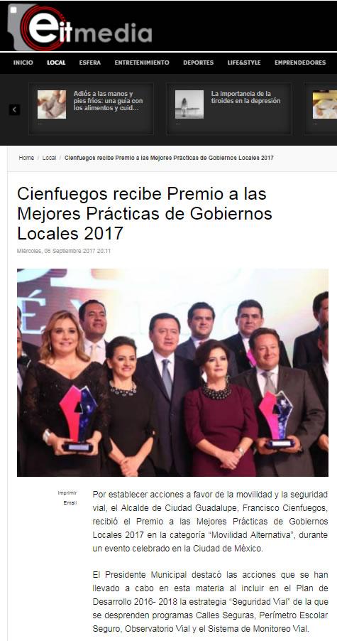 Cienfuegos recibe Premio a las Mejores Prácticas de Gobiernos Locales 2017