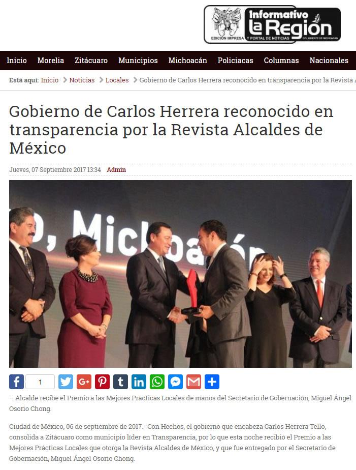 Gobierno de Carlos Herrera reconocido en transparencia por la Revista Alcaldes de México