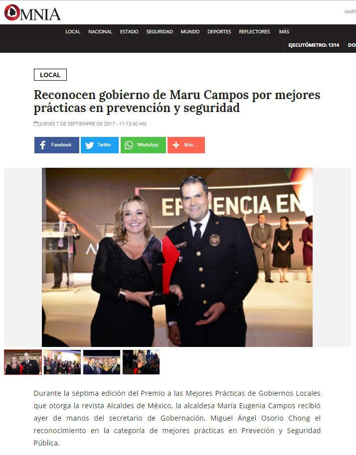 Reconocen gobierno de Maru Campos por mejores prácticas en prevención y seguridad
