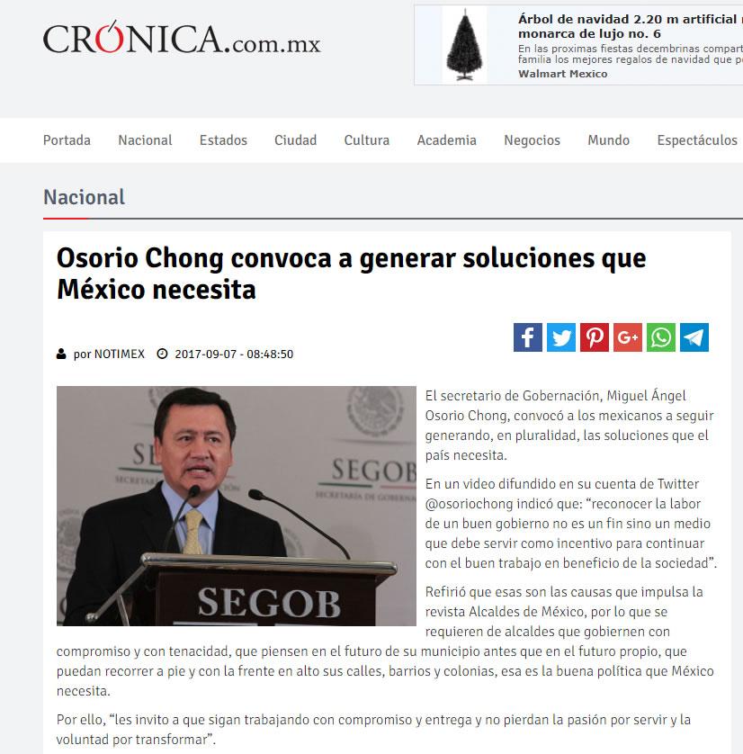 Osorio Chong convoca a generar soluciones que México necesita