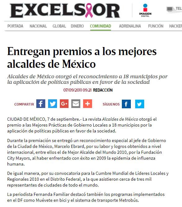 Entregan premios a los mejores alcaldes de México