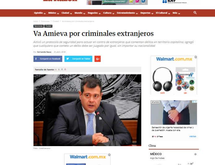Va Amieva por criminales extranjeros